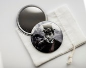 "Buster's Steam Engine  - Pocket Mirror - 2.25"" with Linen Pouch  ~  Steampunked Silents Collection"