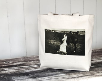 Aunt Eva - 1914 - Vintage Photograph  - Carryall Tote - School Bag - Canvas Bag - Vintage Horse Photography
