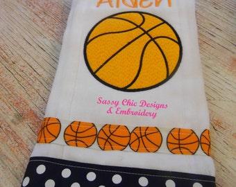 Basketball/Baby Boy Burp Cloth/Basketball Burp Cloth/Boutique Style Basketball Burp Cloth/Personalized Burp Cloth/Personalized Baby Set