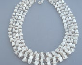 White Agate Necklace, Multi Strand Agate Necklace, White Layered Necklace, Agate Chip Necklace, Statement Necklace