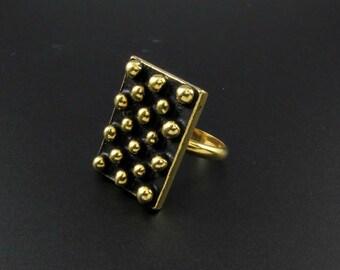 Gold Modern Ring, Modern Gold Ring, Statement Ring, Large Ring, Adjustable Ring, Cool Ring, Punk Ring, Rocker Ring, Bubble Ring, Black Ring