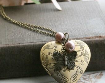 Butterfly locket necklace , heart locket necklace , long locket necklace, butterfly necklace , picture locket necklace -Anya