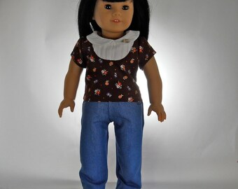 18 inch doll clothes, 2 piece outfit, Brown Bib Top with Denim Jeans, Made to fit 18 inch dolls such as American Girl, 09-0485