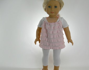 18 inch doll clothes made to fit dolls such as American Girl®, White Unitard with Pink Halter Top, 02-0877