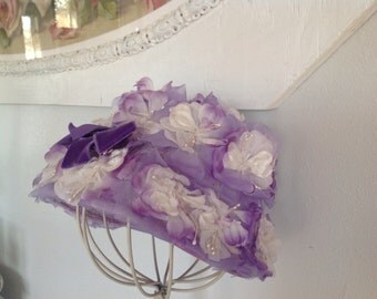 Vintage Millinery Hat ~  Purple and White Flowered Hat ~ Vintage  Ladies Accessories ~  Lynn Brooks Hats ~ Romantic Living