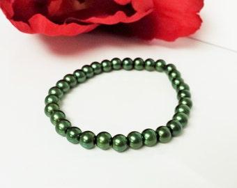 Hunter Green Pearl Bracelet - Hunter Bridesmaid Bracelet - Hunter Flower Girl Bracelet - Green Bridal Party Bracelet