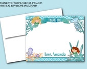 Thank You Note Cards with Envelope, Mermaids, Sea Life, Ocean, Under the Sea, Blue Color Scheme