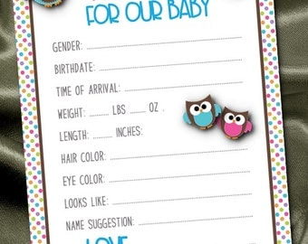 Set of 10 Prediction Cards, Baby Shower Party Games, Guessing Game Cards, Baby Gender Reveal Party, Pink & Blue Baby Owls, Personalized