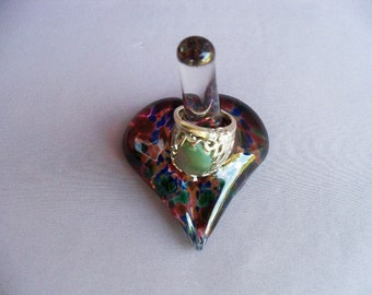 Hand Blown Art Glass Heart Shape Ring Holder