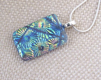 Dichroic Fused Glass Pendant -Blue, Pink and Gold Starburst Pendant - Dichroic Necklace - Fused Glass Jewelry - 127-14