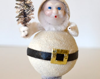Vintage Christmas Gnome Elf Ornament White Black With Little Silver Tone Tree