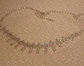 Vintage Rhinestone Necklace-Rhinestone Jewelry-Rhinestone-Necklace-Bride Necklace-Bride Rhinestone-Wedding Jewelry