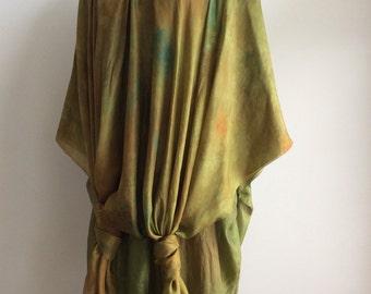 Hand dyed nuno felted silk caftan