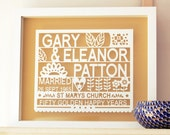 Personalized 50th Golden Wedding Anniversary Paper cut Gift Art, gift for anniversary, gift for married couple, golden anniversary gift,