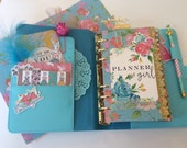 Turqouise Dream Shabby Chic Floral Planner Kit