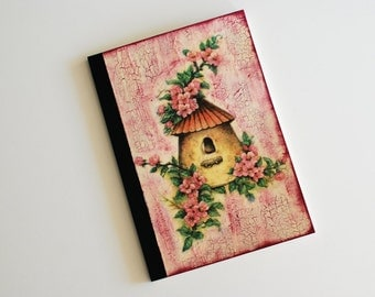 Shabby Journal with decoupage of birdhouse and flowers in pink