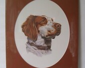 Brittany Dog Print by Roger Cruwys, Matted and Shrink Wrapped. Wall Hanging, Sportsman Decor, Lodge Decor, Animal Lover, Happy Dog,