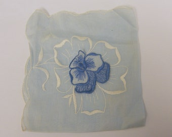 Vintage Something Blue Embroidered Pansy HAndkerchief