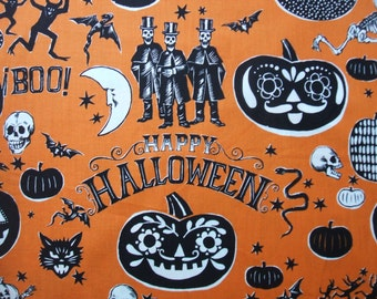 Crafty Calaveras Orange Halloween Days of the Dead Alexander Henry Fabric