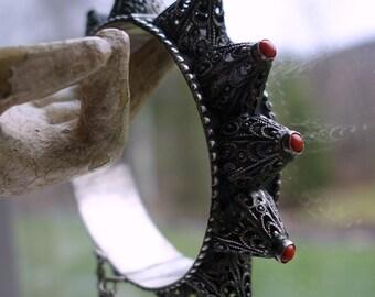 Antique Silver Coral Hinged Bracelet