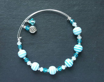Childrens Blue Swirl Beaded Bracelet