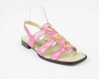 90s Pink Leather Sandals Metallic Leather Sandals Boho Gold Metal Sun & Moon Leather Slingback Sandals Summer Open Toe Flat Cage Sandals 6