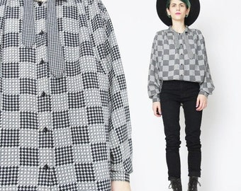 25% off SALE 1980s Bow Tie Blouse Checkered Houndstooth Print Shirt Black and White OP Art  Shirt 80s Secretary Blouse Long Sleeve Womens Bu