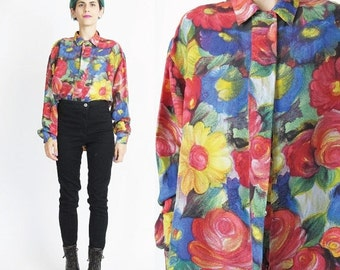 FLASH SALE Vintage Floral Silk Blouse 1980s Silk Shirt Long Sleeve Blouse Button Down Front Collared 80s Womens Blouse Watercolor Flowers Ar
