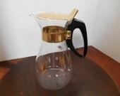 Vintage Pyrex Teapot Coffee Pot -- 8 Cup Clear Glass with metallic gold sunburst pattern -- Carafe Warmer pot