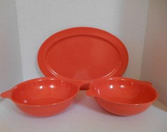 Vintage Malloware Orange Coral Melamine Melmac Dinnerware -- Large Platter and two (2) Serving Bowls