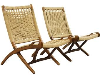 Midcentury Modern Wegner Style Rope Seat Folding Chairs, Pair