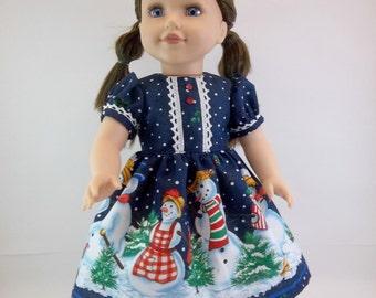 18 inch Doll Dress Fits American Girl Doll  Navy Snowman Christmas Dress Toys