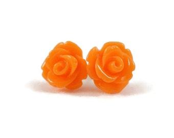 Orange Roses Earrings, Orange Flowers Earrings, Rose Earrings w/ Surgical Steel Post for Sensitive Ears, Orange Earrings, Earrings for Teens