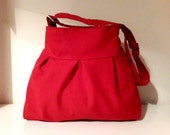Tote bag-Red-Pleated-Adjustable to Straps