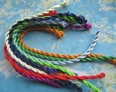 on sale 100pcs 8-9 inch 3mm assorted(more than  10 colors avaiable) twist silk bracelet cords with ball