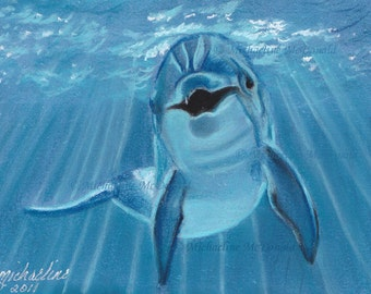 Dolphin Painting - dolphin art, dolphin gifts, dolphin lovers, nautical decor, wildlife art, ocean painting,