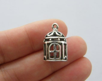 4 Bird cage charms antique silver tone B172