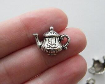 BULK 50 Tea Time Teapot  charms tibetan silver FD52