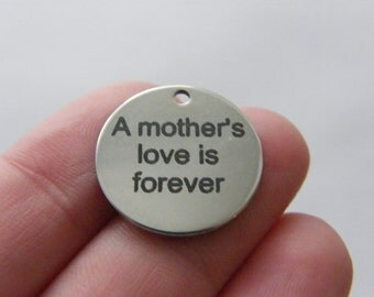 1 A Mother's Love is Forever tag charm 20mm tag stainless steel TAG9-1