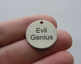1 Evil Genius charm 20mm  stainless steel TAG9-1