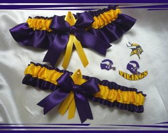 Vikings Purple Satin Ribbon Wedding Garter Set Made with Vikings Fabric