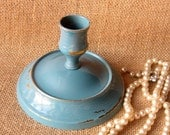 Rustic Chippy Brass Candle Holder Painted in Blue