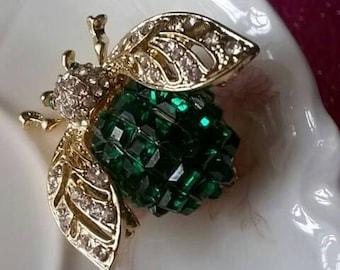Vintage Crystal Rhinestone Bee Brooch