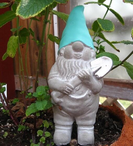 Gnome In Garden: Concrete Gnome Statue / Fairy Garden Decor