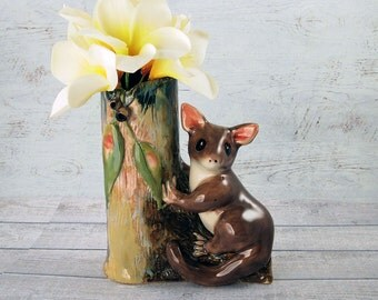 Ceramic possum bud vase one of a kind hand sculpted Anita Reay AnitaReayArt possum figurine