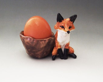 Red fox ceramic eggcup figurine hand crafted egg cup easter Anita Reay AnitaReayArt figurine