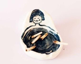 Girl Hand-built Ceramic Porcelain Astray