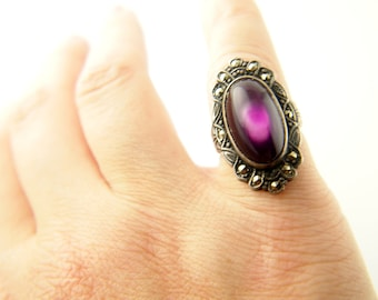 Art Deco Glass Ring - Marcasite - Sterling Silver - Vintage