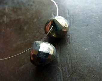 Pyrite faceted onion shape Briolettes - 1 pair - approx 8-9mm