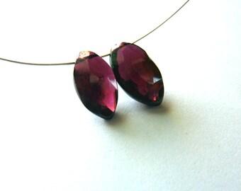 11mm natural Rhodolite Garnet faceted  diamond drop briolettes - 1 pair